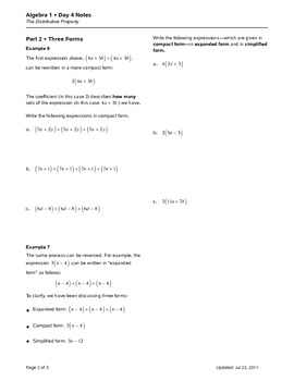 Algebra 1 Topic 01 Properties of Numbers (Notes)