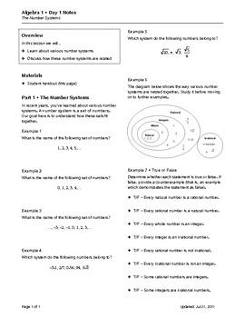 Algebra 1 Topic 01 Properties of Numbers (Notes)