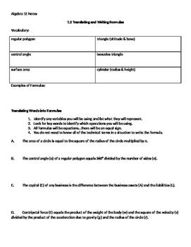 Algebra 1 Ch 1 L2 Note Sheet Translating And Writing Formulas