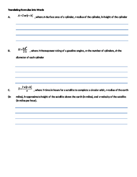 Algebra 1 Ch 1 L2 Note Sheet Translating And Writing Formulas