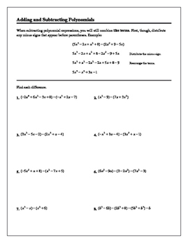 Algebra 1/Algebra 2 Tutorial: Adding and Subtracting Polynomials