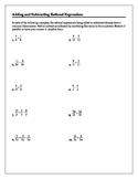 Algebra Tutorial & Worksheets: Adding and Subtracting Rati