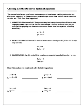 Algebra Tutorial & Worksheets: Choosing a Method to Solve a System of Equations