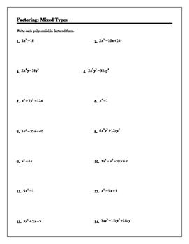 Algebra Tutorial & Worksheets: Factoring Mixed Types
