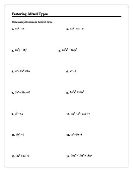 Algebra Tutorial & Worksheets: Factoring Mixed Types
