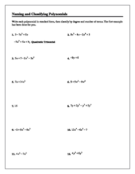 Algebra Tutorial & Worksheets: Naming and Classifying Polynomials