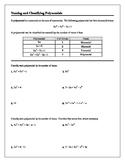 Algebra Tutorial & Worksheets: Naming and Classifying Polynomials