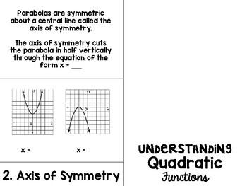 Algebra 1 - Understanding Quadratic Functions FlipBook Foldable