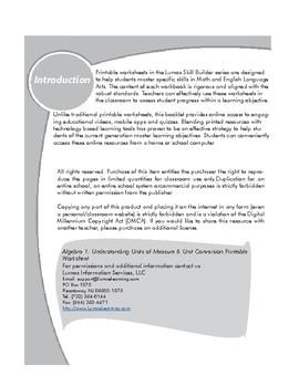 Algebra 1 Understanding Units of Measure & Unit Conversion Printable Worksheets