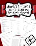 Algebra 1 Unit 1 - Introduction to Class and Pre-Algebra Review Bundle
