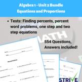 Algebra 1 Unit 2 Equations and Proportions Mega Pack (GROW