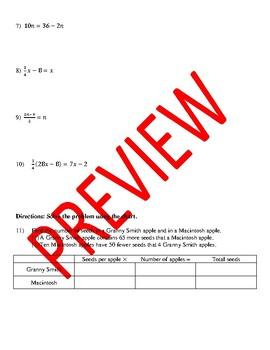 Algebra 1 - Unit 2 Test