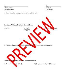 Algebra 1 - Unit 3 Test