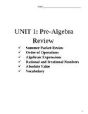 Algebra 1 Unit Packet (Pre-Algebra Review Concepts)