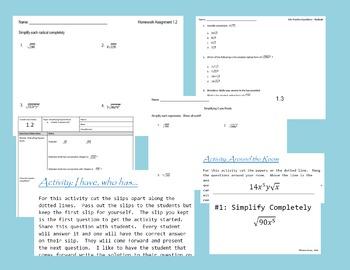 Algebra 1 Unit - Radicals