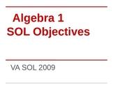Algebra 1 VA SOL Printable Posters