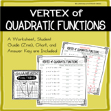 Algebra 1:  Vertex of Quadratic Functions