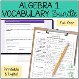 Algebra 1 Vocab BUNDLE Google Forms and Printable