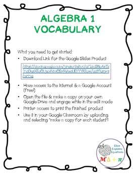 Algebra 1 Vocabulary Google INB