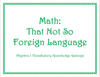 Algebra 1 Vocabulary Knowledge Ratings
