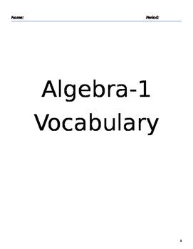 Algebra 1 Vocabulary Notebook