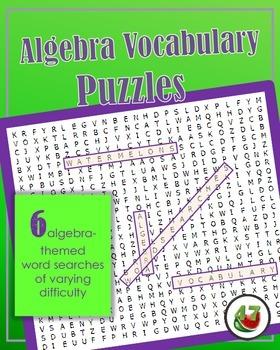 Algebra 1 Vocabulary Word Search Puzzles