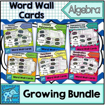 Algebra Vocabulary Word Wall Cards Growing Bundle