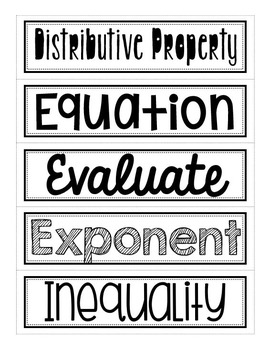 Algebra 1 Vocabulary (Word Wall Words)