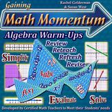Algebra 1 Warm Ups Bundle: Math Bell Ringers on Basic Alge