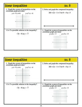Algebra 1 Warm Ups: Inequalities (Common Core standards)