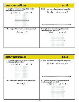 Warm Ups: Inequalities: Algebra 1 (Common Core standards)
