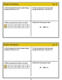 Algebra 1 Warm Ups: Linear Functions (Common Core standards)
