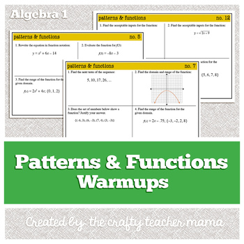 Algebra 1 Warm Ups: Patterns and Functions (Common Core standards)