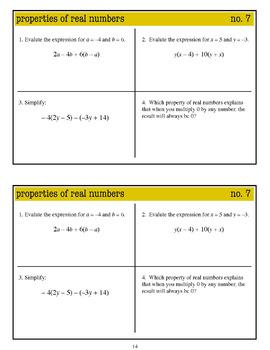 Warm Ups: Properties of Real Numbers: Algebra 1 (Common Core standards)