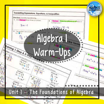 Algebra 1 Warm-Ups | Unit 1 - The Foundations of Algebra