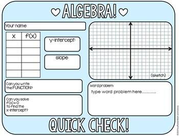 Algebra 1 Quick Check Warmup Template