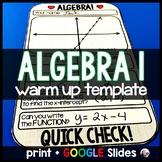 Algebra Warm-up Template