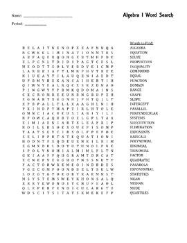 Algebra 1 - Word Search