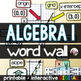 Algebra Word Wall - print and digital