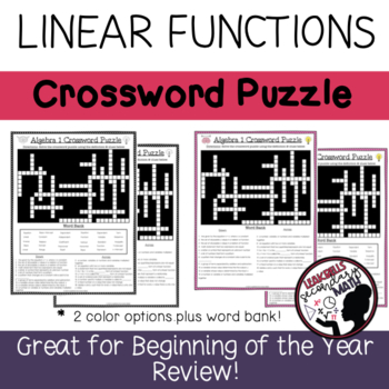 Linear Functions Crossword Puzzle