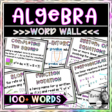 Algebra 1 Word Wall Posters - Set of 100 Key Word Vocabulary