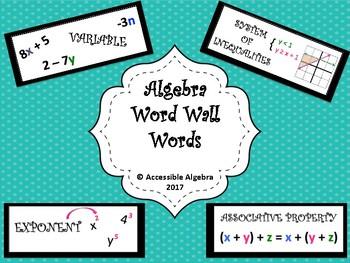 Algebra 1 Word Wall Words