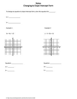 Algebra 1 Worksheet: Changing to Slope Intercept Form