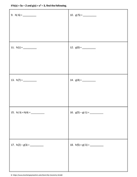 Algebra 1 Worksheet: Functions with a Given Domain