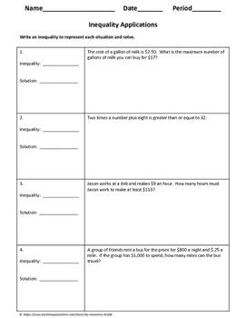 Algebra 1 Worksheet: Inequality Applications