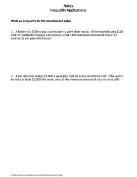 Algebra 1 Worksheet: Inequality Applications