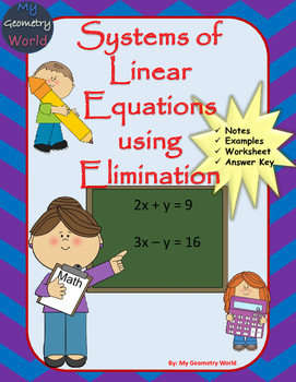 Algebra 1 Worksheet: Solving Systems of Linear Equations Using Elimination