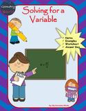 Algebra 1 Worksheet: Solving for a Variable