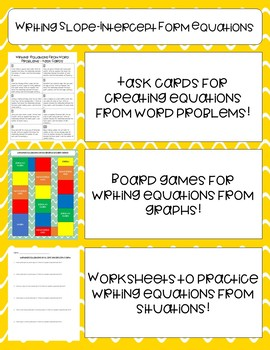 Algebra 1 Writing Equations in Slope-Intercept Form Mini Activities and Practice