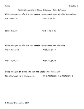 Algebra 1 Writing Equations in Slope Intercept Form Worksheets